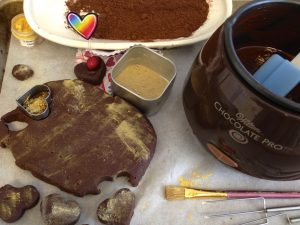 Heart cutter, Ginger Powder, Melted Chocolate