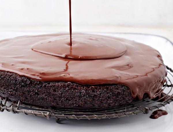 Deep, dark, moist chocolate cake: Bittersweet Ganache Glazed Chocolate ...