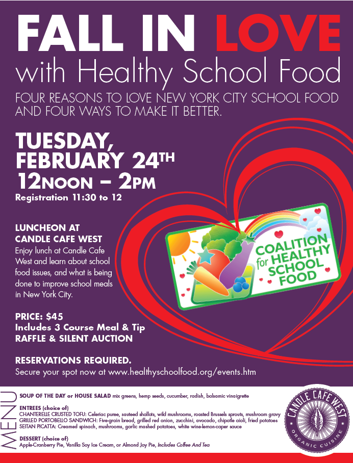 Fall in Love with Healthy School Food Luncheon at Candle Cafe West @ Candle Cafe West | New York | New York | United States