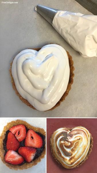 Vegan Meringue Strawberry Heart Tart