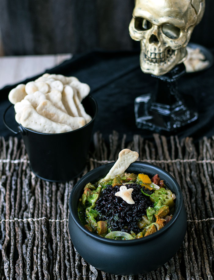Swamp Monster Jackfruit Gumbo  from The Ghoulish Gourmet by Kathy Hester