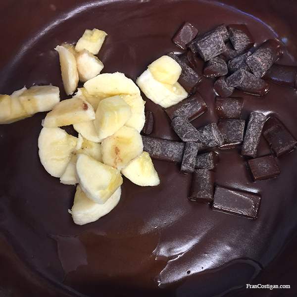 Adding bananas and chocolate to Vegan Chocolate Banana Pudding