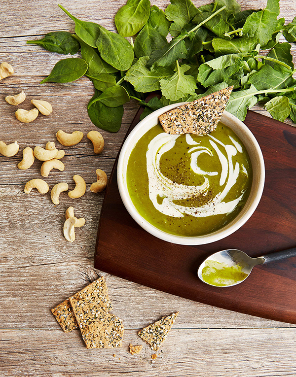 Velvety Kale Soup with Cashew Cream by Spork Foods from their new cookbook, Vegan 101